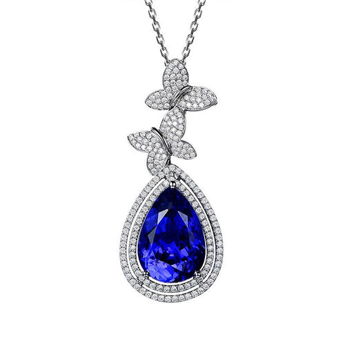 Pear Cut Tanzanite Butterfly Necklace-SILVER YULAN-JewelStreet US