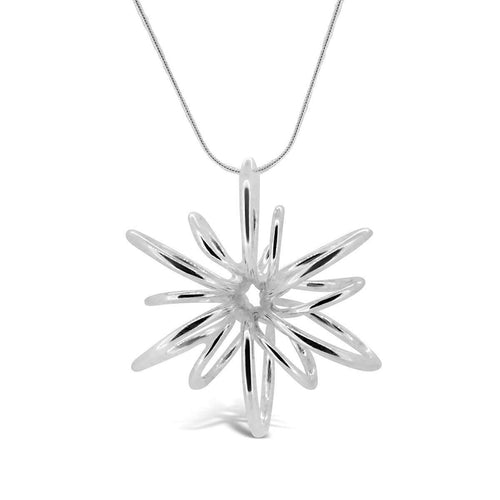 Silver Small Lotus Necklace-Maree London-JewelStreet US