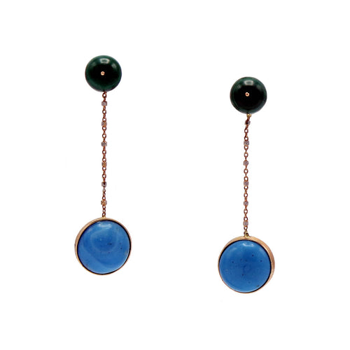 18kt Rose Gold Malachite & Turquoise Earrings ,[product vendor],JewelStreet