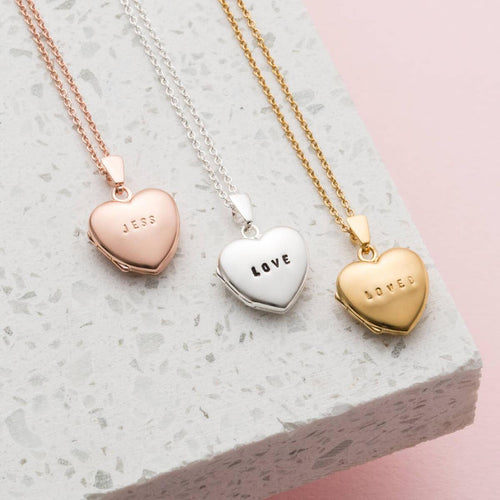 Silver Personalised Mini Heart Locket Necklace