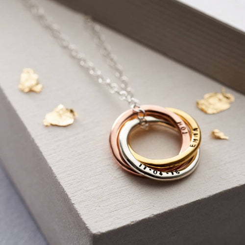 Personalised Mixed Gold Russian Ring Necklace
