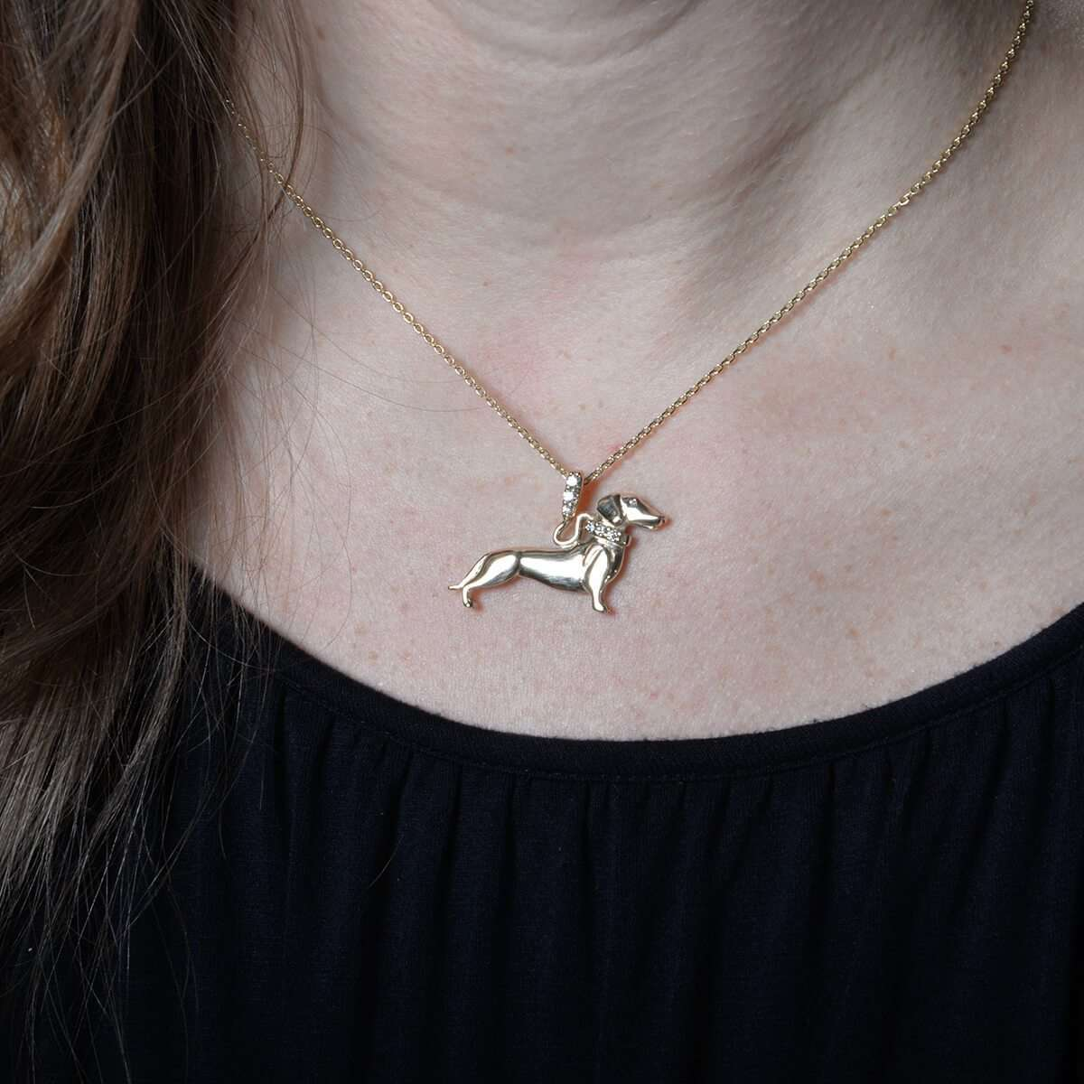 14kt Yg Dachshund With Diamond Leash-Donna Pizarro Designs-JewelStreet US