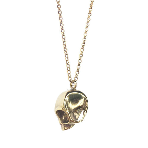 Yellow Gold Plated Monkey Skull Pendant Necklace