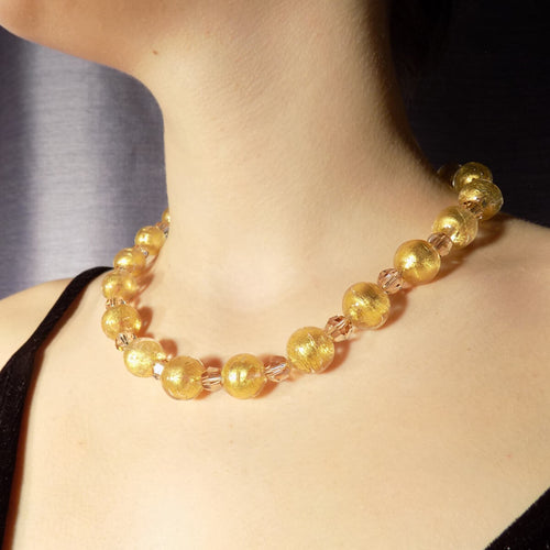 Murano Glass Bead Pure Gold Necklace ,[product vendor],JewelStreet