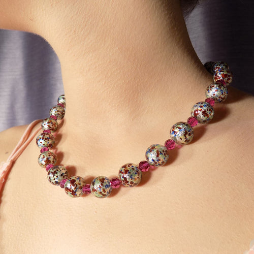 Murano Glass Bead Sparkling Moon Necklace ,[product vendor],JewelStreet