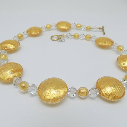 Murano Glass Bead Golden Secret Necklace ,[product vendor],JewelStreet