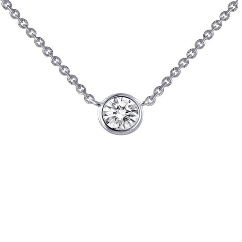 Lafonn Platinum Plated Bezel-set Solitaire Necklace