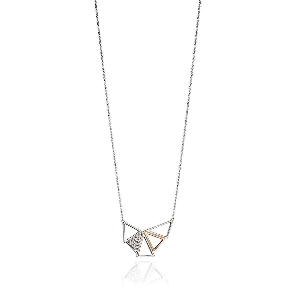 Pave And Rose Gold Triangle Pave Necklace-Fiorelli Silver-JewelStreet US