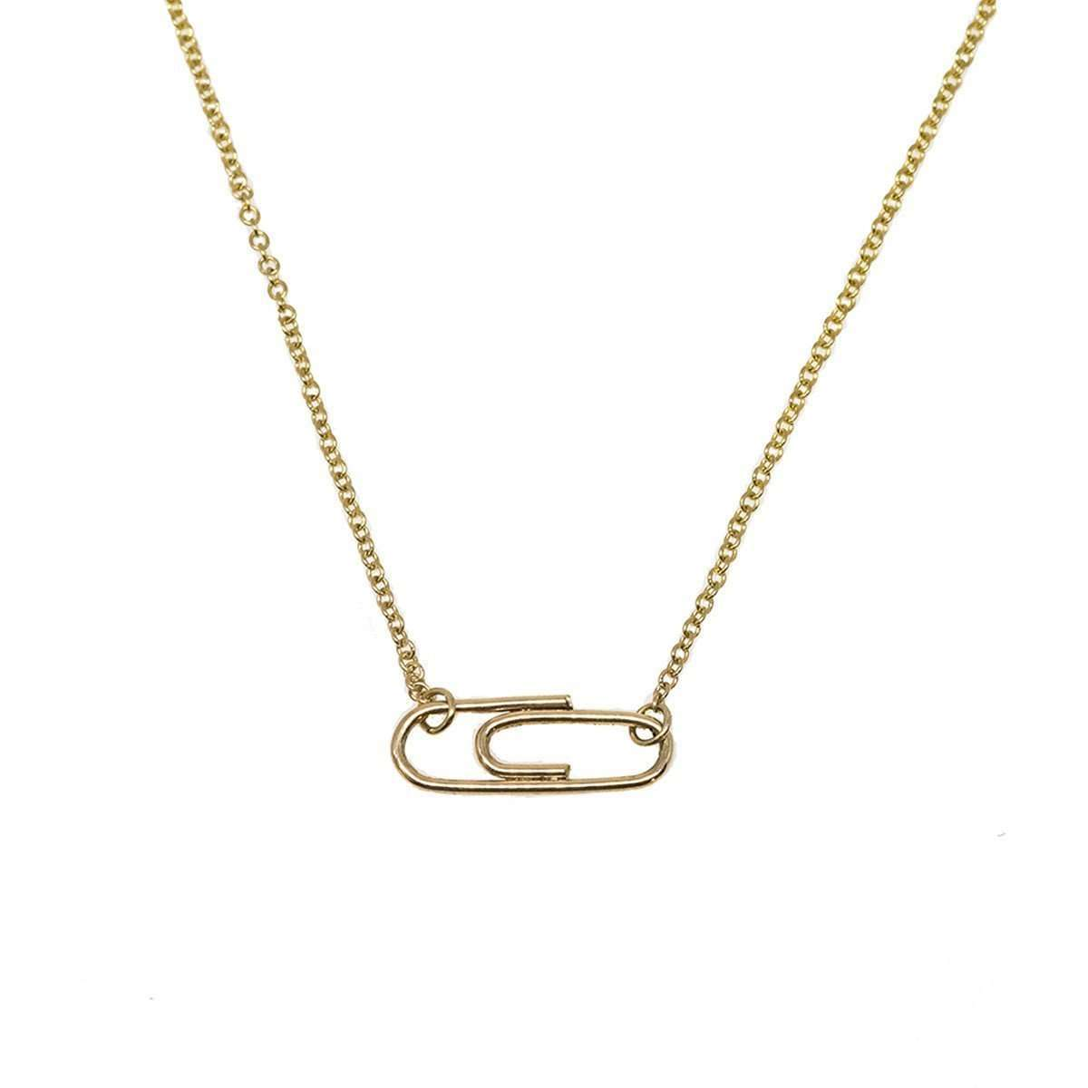 Mini Golden Paperclip Necklace-Rosie Chan-JewelStreet US