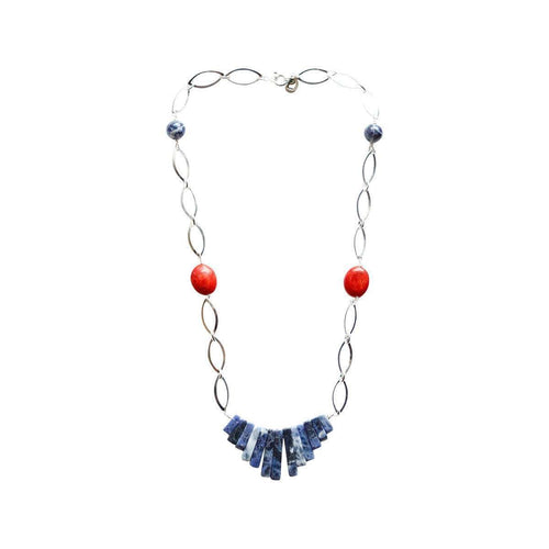 Ingrid Sterling Coral Necklace-Lucy and Penny-JewelStreet US