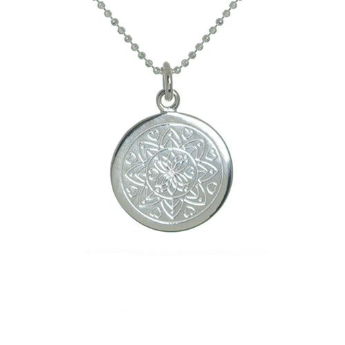 Sterling Silver Love Mandala Disc Necklace ,[product vendor],JewelStreet