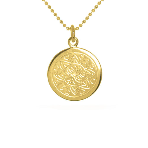 Yellow Gold Plated Love Mandala Disc Necklace ,[product vendor],JewelStreet