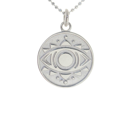 Sterling Silver Evil Eye Disc Necklace ,[product vendor],JewelStreet