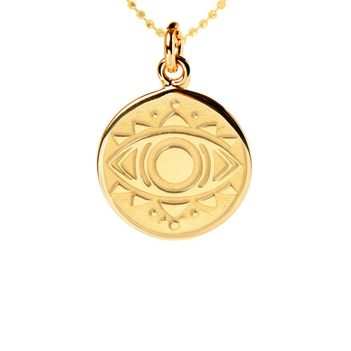 Yellow Gold Plated Evil Eye Disc Necklace ,[product vendor],JewelStreet