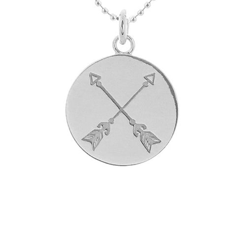 Sterling Silver Crossed Arrows Disc Necklace ,[product vendor],JewelStreet