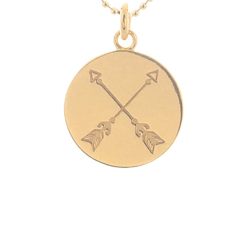 Yellow Gold Plated Crossed Arrows Disc Necklace ,[product vendor],JewelStreet