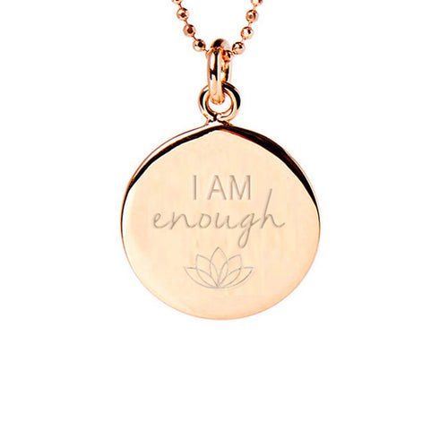Rose Gold Plated I Am Enough Disc Necklace ,[product vendor],JewelStreet