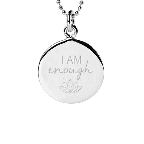 Sterling Silver I Am Enough Disc Necklace ,[product vendor],JewelStreet