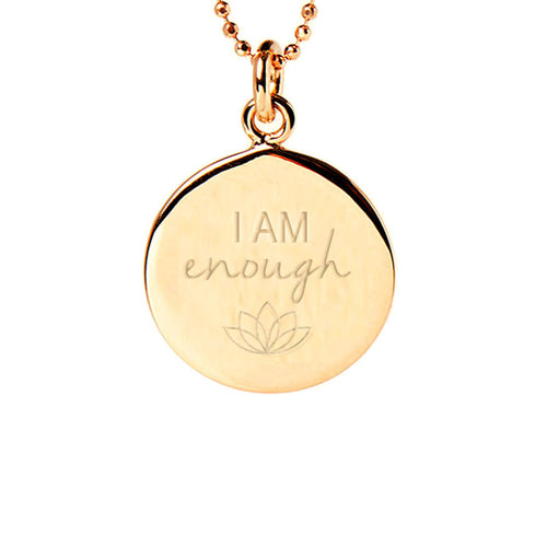 Yellow Gold Plated I Am Enough Disc Necklace ,[product vendor],JewelStreet