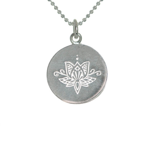 Sterling Silver Lotus Disc Necklace ,[product vendor],JewelStreet