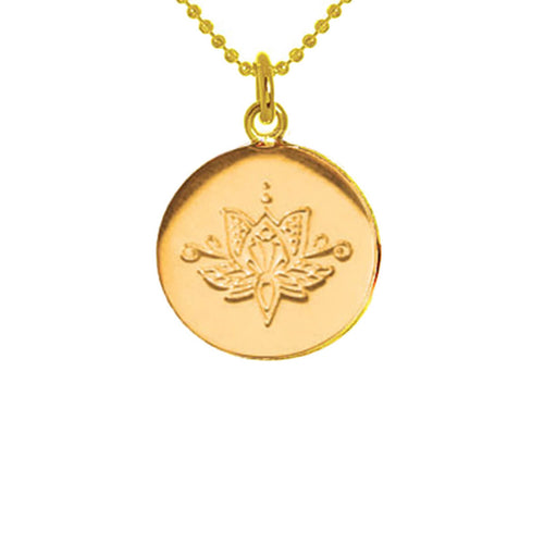 Yellow Gold Plated Lotus Disc Necklace ,[product vendor],JewelStreet