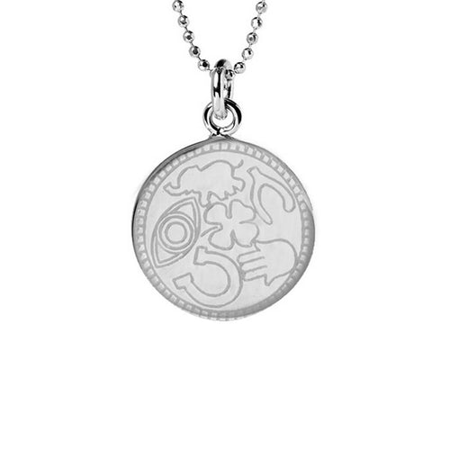 Sterling Silver Lucky Disc Necklace ,[product vendor],JewelStreet