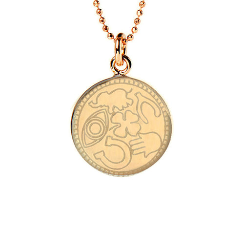 Yellow Gold Plated Lucky Disc Necklace ,[product vendor],JewelStreet
