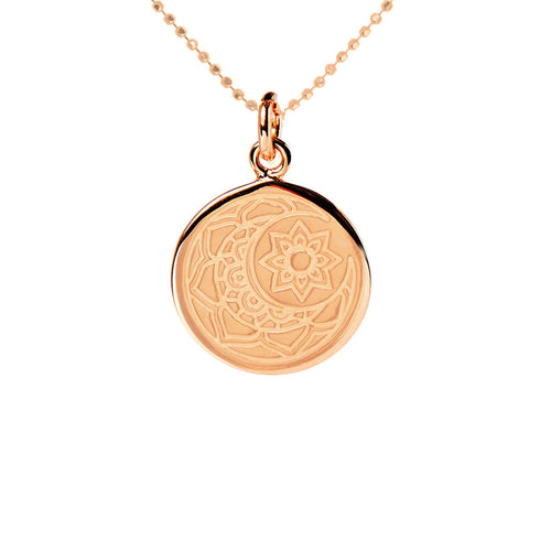 Rose Gold Plated Moon & Sun Disc Necklace ,[product vendor],JewelStreet