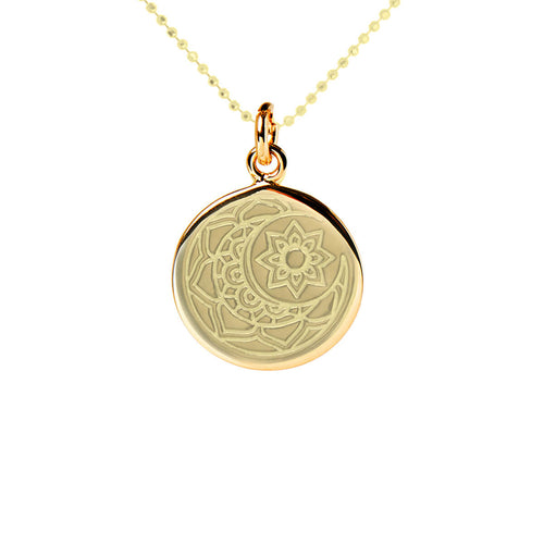Yellow Gold Plated Moon & Sun Disc Necklace ,[product vendor],JewelStreet