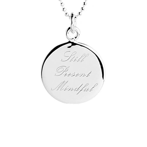Sterling Silver Still, Present, Mindful Disc Necklace ,[product vendor],JewelStreet
