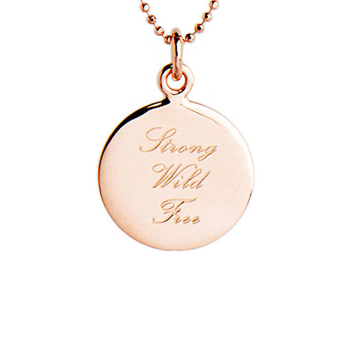 Rose Gold Plated Strong, Wild, Free Disc Necklace ,[product vendor],JewelStreet