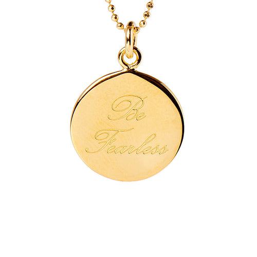 Yellow Gold Plated Be Fearless Disc Necklace ,[product vendor],JewelStreet