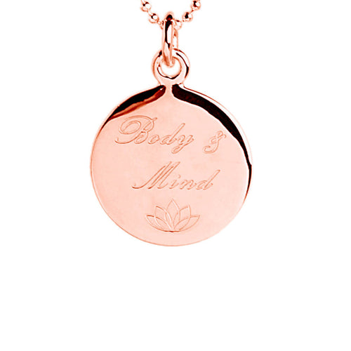 Rose Gold Plated Body & Mind Disc Necklace ,[product vendor],JewelStreet