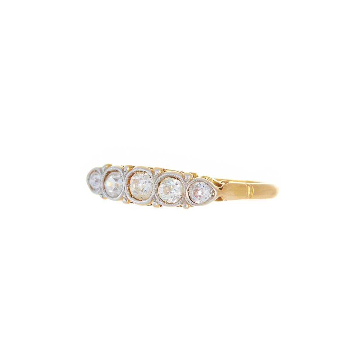 Antique Art Deco 5 Diamond White And Yellow Gold 18kt Ring