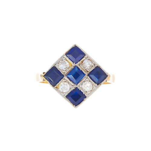 Art Deco Checkerboard Diamond And Sapphire Ring-Alexis Danielle Jewelry-JewelStreet US