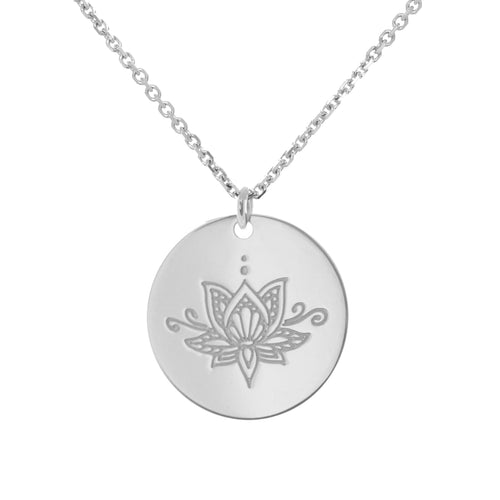Sterling Silver Ornate Lotus myMantra Pendant ,[product vendor],JewelStreet