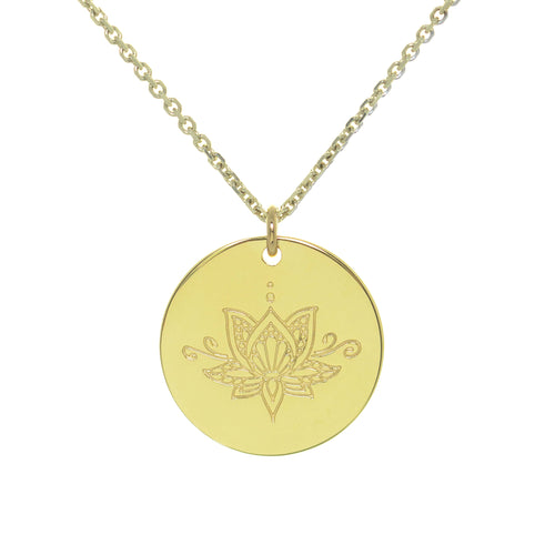 Yellow Gold Plated Ornate Lotus myMantra Pendant ,[product vendor],JewelStreet