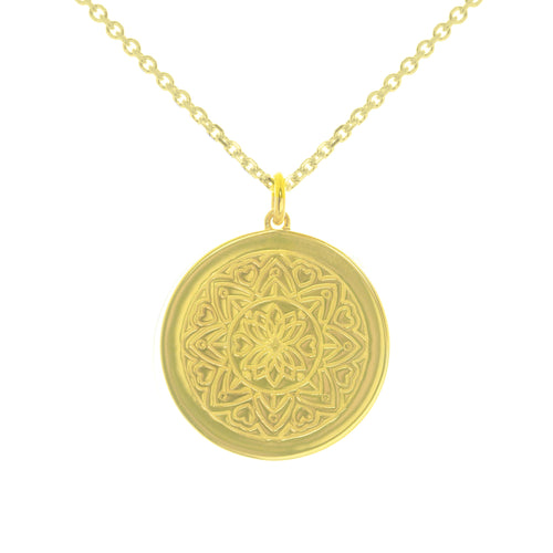 Yellow Gold Plated Love Mandala myMantra Pendant ,[product vendor],JewelStreet