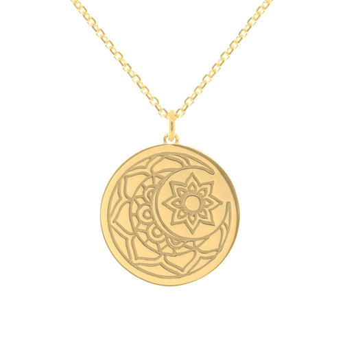 Yellow Gold Plated Moon & Sun myMantra Pendant ,[product vendor],JewelStreet