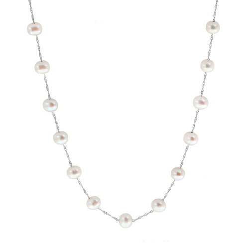 Tin Cup Pearl Necklace White Gold