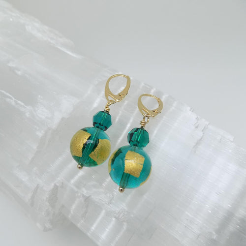 Murano Glass Bead Lagoon Love Earrings  ,[product vendor],JewelStreet