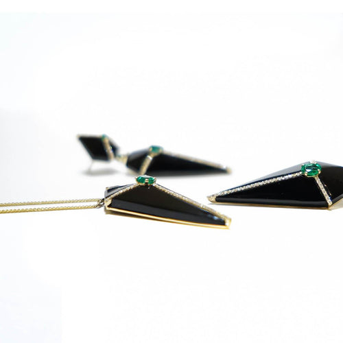 Cubist Onyx Pendant Necklace With Diamonds And Emeralds