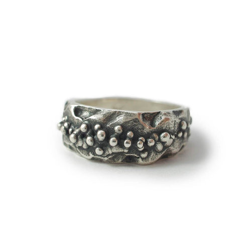 Oxidised Sterling Silver Moon Ring
