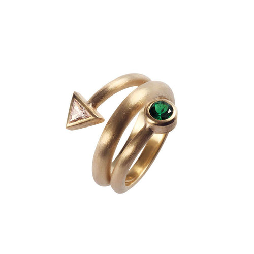 Yellow Gold Diamond Bindweed With Tsavorite Ring | Goldspindel