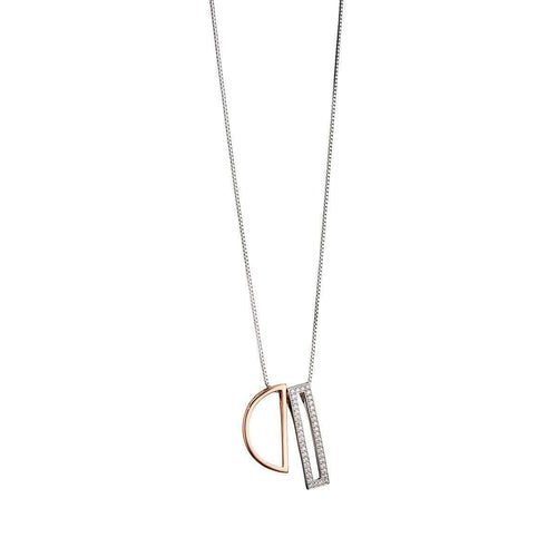 Rose Gold Semicircle And Pave Rectangle Necklace-Fiorelli Silver-JewelStreet US