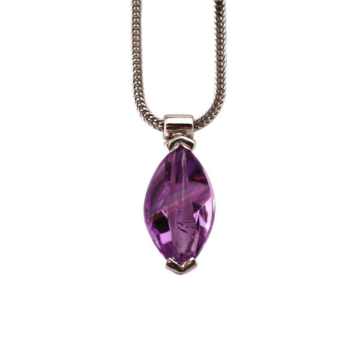 White Gold Plated Silver Amethyst Pendant ,[product vendor],JewelStreet