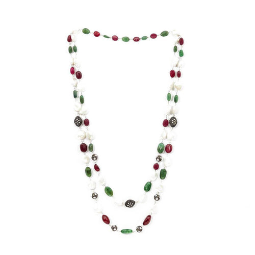 Rhodium Plated Colourful Uncut Diamond String Necklace