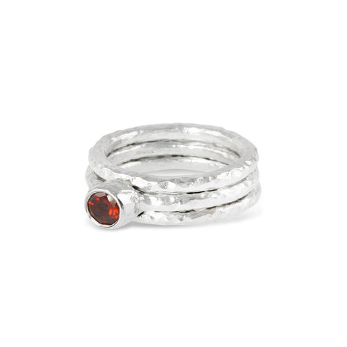 Sterling Silver & Garnet Tribus Stack Ring | Paul Magen