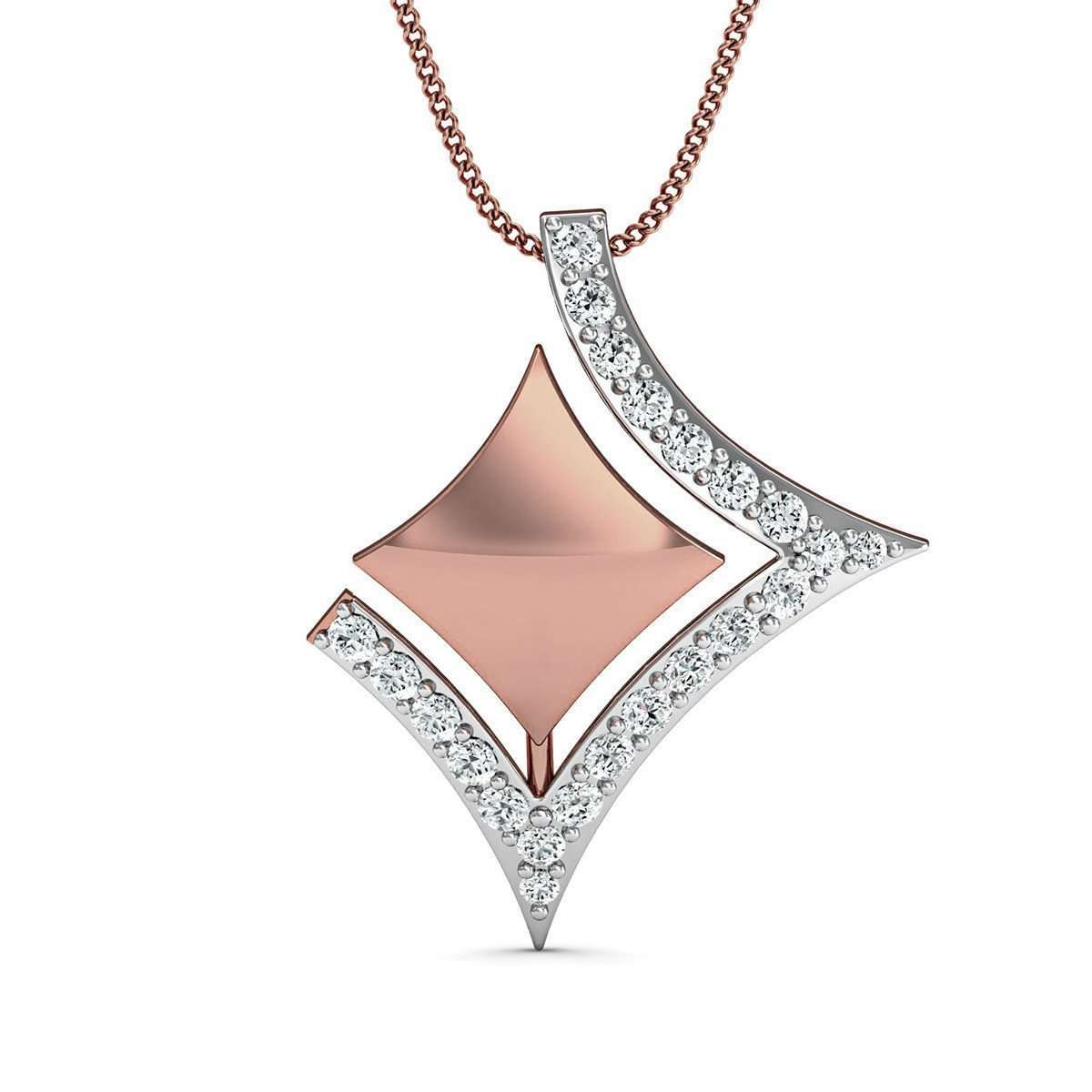 14kt Rose Gold Diamond Pendant Inspired by Nature-Diamoire Jewels-JewelStreet US