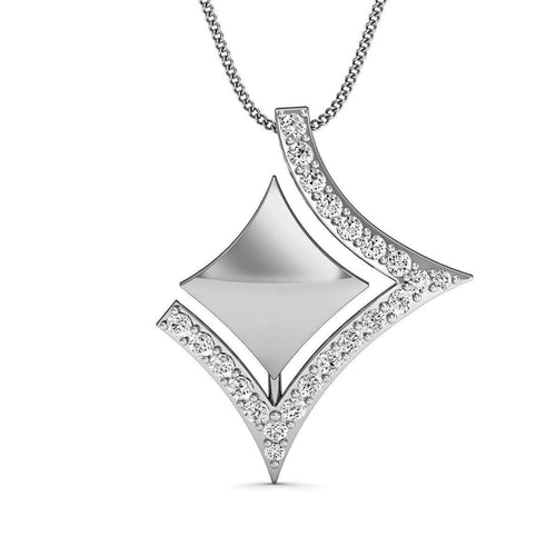 Pave Diamond Pendant in Hand-carved 18kt White Gold-Diamoire Jewels-JewelStreet US